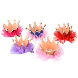 $enCountryForm.capitalKeyWord Australia - Girls Princess Cute Pearl Shiny Crown Hair Clips Tiara Ribbon Barrettes Hairpins Hair Accessories For Kids Baby Party Gift