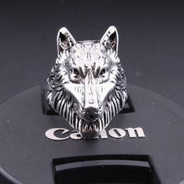 StainleSS Steel wolfS head ring online shopping - Fashion Stainless Steel Punk Silver Charm Men Wolf Head Biker Ring Jewelry
