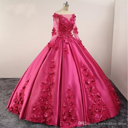 Evening Dresses Lace Up Back Australia - Fuchsia Ball Gown Prom Dresses Long Sleeves Off Shoulder Lace up Back Lace Applique Beads Flowers Satin Evening Gowns Quinceanera Dresses