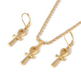 Egypt Pendants Australia - Egyptian Ankh Cross Pendant Necklace Earrings Set Woman African Charms Jewelry Girls Egypt Hieroglyphs Crux Ansata
