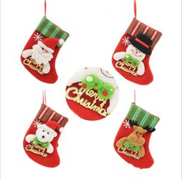 sock style christmas stockings Australia - Christmas Stocking Santa Claus Christmas Tree Ornament Xmas Sock Candy Gift Bag Home Party Decorative 12 styles LXL318-A
