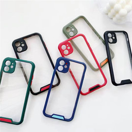 iphone clear case color edge Canada - Clear Camera protection shield Phone Case For iPhone 11 Pro Max SE X XR Xs Max 7 8 Plus Candy Color Edge hard Phone Case