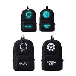 $enCountryForm.capitalKeyWord Australia - New Korean Style Luminous Unisex Shoulder Bag Students Bag Tide Youth Backpack Canvas Casual Anime