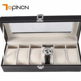 $enCountryForm.capitalKeyWord Australia - 3 6 Slots Wooden Watch Box Organizer Storage Box Top Transparent Glass Window Watch Cases Jewelry Bracelets Bangle Gift