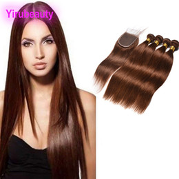 raw hair dye colors NZ - Indian Raw Virgin Hair Bundles With 4X4 Lace Closure Middle Three Free Part 4# Siky Straight Color 4 Cheap Dyed 100% Human Hair