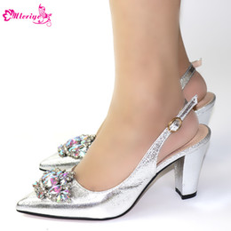 $enCountryForm.capitalKeyWord Australia - Italian Nigerian Low Heels Pointed Toe Party Shoes Without Bag Set Silver Fashion Sandals Wedding African Shoes Women Pumps