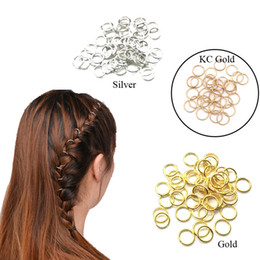 gold hair beads Australia - 50Pcs Braiding Hair Accessaries Beads 10mm 12mm or 14mm 16mm Gold Hair Braid Dreadlock Bead Cuff Clip Braid Hoop Circle Lead Free