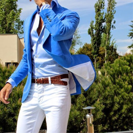 Linen Dress Suit Australia - Custom Made Blue Mens Suits Slim Fit Casual Groom Prom Blazer 2 Pieces Tuxedo Dress Clothes Beach Summer Style (jacket +pant) C190416