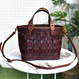hand bags brands 2019 - Tanned Women knitted Bags Handbags Famous Brands Genuine Leather Ladies Hand Bags For Women 2019 Vintage Shoulder Sac Fe