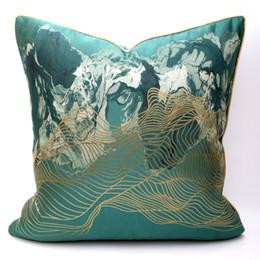 decorative european pillow covers 2019 - New European Classical Stripe Silk Jacquard Cushion Cover Pillow Cover Pillowcase Home Decorative Sofa Throw Pillows Liv