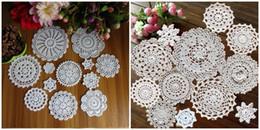 $enCountryForm.capitalKeyWord UK - Wholesale- 24 Patterns 100% Cotton Hand Made Crochet Doilies Cup Mat Pad Coaster 24 Vintage Crochet Motifs 5-18cm White Beige HD127