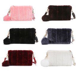 Quality Ladies Handbags Australia - Winter Women Clutch Bag Plush Pompon Solid Color Handbag Sweet Cute Ladies Girls Evening Party Envelope Bags Popular good quality