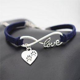 $enCountryForm.capitalKeyWord Australia - Vintage Boho Infinity Love Puppy Cats Dogs Claw Paw Heart Pendant Charm Bracelets Bangles For Men Women Navy Leather Suede Rope Jewelry Gift