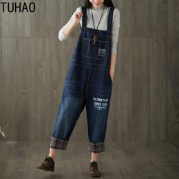 Plus Size Jeans Girls Australia - Plus Size Korean Womens Jumpsuit Denim Overalls Casual Vintage Plaid Boyfriend Jeans for Woman Girls Pants Jeans LLJ