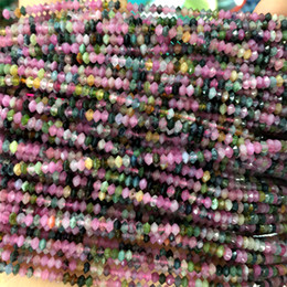 green tourmaline natural stone 2021 - Genuine Natural Multicolour Green Pink Red Yellow Tourmaline Faceted Rondelle Necklaces or Bracelets Small Beads 2x3mm 1
