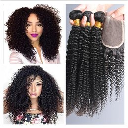best curly bundle hair Canada - Best Sale Kinky Curly Lace Closure With 3bundles 7a Unprocessed Malaysian Human Hair Weave Bundles With Free Part 4x4 Top Closure 4pcs Lot