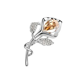 import fashion jewelry UK - Christmas Gifts High-end Fashion Accessories Jewelry Import Austrian Crystal Corsage Tulip Bud Leaves Flowers Charm Brooches Pins For Women
