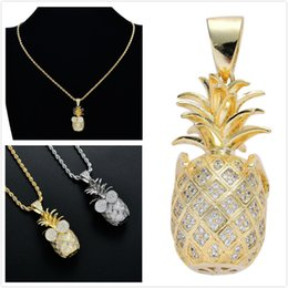 $enCountryForm.capitalKeyWord Australia - Luxury Designer Gold Diamond Lovers Iced Out 3D Pineapple Pendant Necklace Full CZ Cubic Zirconia Fruit Hip Hop Rapper Jewelry For Men Women