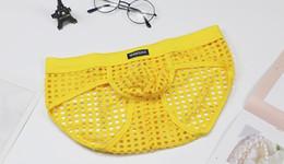 Wholesale men see through underwear for sale - Group buy WOXUAN Mens Briefs Mesh see through Mans Underwear hollow cueca Man Underwear grid fishnet briefs D571