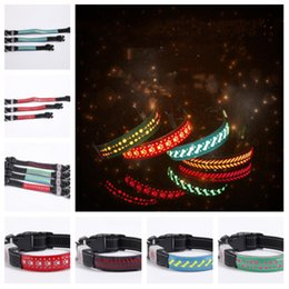 Wholesale 4 style L S M size stylish dog and cat necklaces with leather Led collars pet collars glow collars pet leash T2I5117