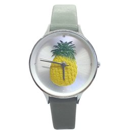 3d pineapple case UK - Nafisa Women's Summer Fashion Unique Embossed 3D Pineapple Dial Silver Color Case Leather Strap Wrist Watch NA-0131