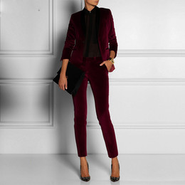 $enCountryForm.capitalKeyWord NZ - Customized velvet Wine Red lady Women Pant Suits lady Ladies Business Office Tuxedos Formal Work Wear Suits pant blazer 2 pieces