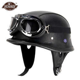 $enCountryForm.capitalKeyWord Australia - New Leather Motorcycle Helmet German Motorcycle Open Face Half Helmet Chopper Biker Pilot DOT BLACK