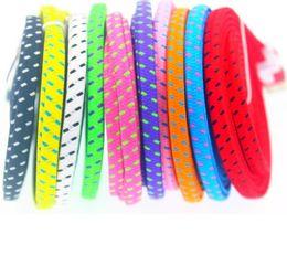 $enCountryForm.capitalKeyWord Australia - 100pcs 3M 3 Feet Nylon Fabric Braided Data Flat noodle TypeC USB Data Sync Charger Cable For Nokia N1 For Macbook 12