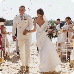 $enCountryForm.capitalKeyWord Australia - Summer Wedding Men Suits Beige Linen Groom Tuxedos Man Suit Double Breasted Groomsmen Blazers Jacket 2 Pieces (Coat+Pants)Costume Homme