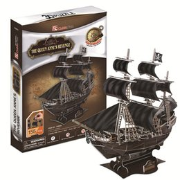 pirates pearl NZ - New product sales 3D Puzzle Pirate Ship Queen Revenge Black Pearl Paper Craft Creative Gift Educational Toys