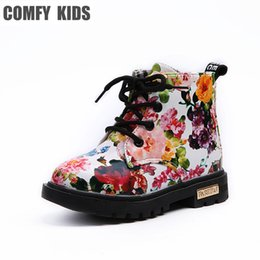 Elegant Flower Girl Shoes Australia - Comfy Kids Shoes Floral Martin Boots for Girls Botas Elegant Flower Print PU Leather Shoes Child Rubber Soled Boots Brand Bottes