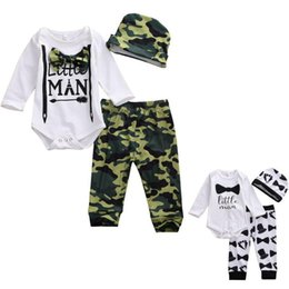 little man baby clothes UK - 0-18M Little Man Infant Baby Boy Clothes Outfit O-Neck Long Sleeve Romper Camo Pants Trousers Jumpsuit Hat 3Pcs For Baby Boys