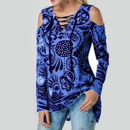 Wholesale Women Off Shoulder Tops V Neck Print Long Sleeves Slim Fit T shirts for Summer S XL MX8