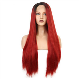synthetic lace wigs free shipping UK - Free Shipping Black Root Red Ombre Color Long Natural Silky Straight Synthetic Lace Front Wig Hat Resistant Cosplay Costume Wigs for Women