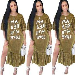 $enCountryForm.capitalKeyWord Australia - New nightclub European and American women's metal mesh letter print dress Ruffled loose short-sleeved round neck dress