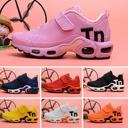 Wholesale 2018 kids Cushion Running Shoes Children boy girls tn Red pink Triple Black White Infant toddler Walking Sports Athletic Sneakers