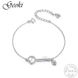 Luxury Chains Australia - Geoki 925 Sterling Silver Micro White Cubic Zirconia Paved Lovely Key Chain Original S925 Heart Lock Bracelet for Women Luxury
