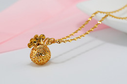 Necklace Bag Pendant Australia - 30 Lucky Simulation Gold Imitation gold stereoscopic Money Bag Pendant Necklace Hollow Geometric Round Coin Money Necklace Amulet Jewelry