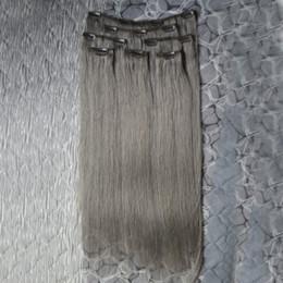 Discount gray black hair extensions - Clip In Human Hair Extension brazilian virgin hair clip in extension 8 Pieces Set 100% Human Natural Brazilian gray hair