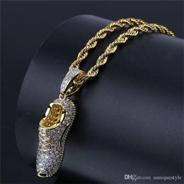 Christmas Gift Shoes Australia - Hip Hop Men Women Jewelry, Auniquestyle Gold Color Plated Pendant Necklaces Iced Out Micro Paved CZ Stone Shoes Necklace with Rope Chain