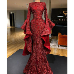 $enCountryForm.capitalKeyWord Australia - red prom dresses glued sequins sparkly 2020 long sleeve ruffle mermaid floor length trumpet sleeve dark red shinning evening gowns