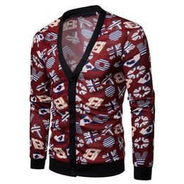 China good quality Sweater Men Jumper Acrylic Casual Autumn Printed Long Sleeve Knit Sweaters Top Blouse Cardigan Mens Sweaters 2019 cheap mens black wool cardigan sweater red suppliers
