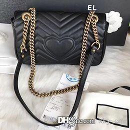 Genuine Leather Handbag Cowhide Shoulder Bag Australia - Top Quality 26CM cowhide Leather Marmont Messenger Bag Long Chain Bag Designer Shoulder Bags Ancient Gold Chain Handbag Purse