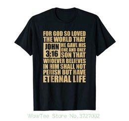 Tshirt Religioso Cristão John 3: 16 Verso da Bíblia Imprimir Tshirt Verão Curto em Promoção