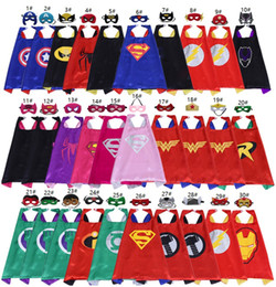 Cosplay Hero Cape Australia - 70*70cm Double Side Superhero Capes and Masks for kids Top Quality 102 Options Children Cartoon Capes Cosplay Party Halloween Costumes