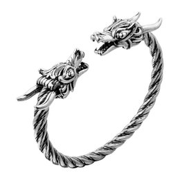 bangle silver dragon Australia - Nordic Viking Dragon Bracelet Fashion Accessories Viking Vintage Jewelry Men and Women Silver Dragon Open Bangle