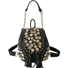 Discount belt riveted men - New Personality Belt Tassel Shoulder Bag Fashion Punk Rivet Buckle Bucket Chain Bag