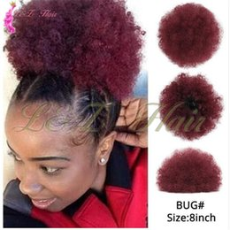 Discount kinky hair ponytails - Synthetic Chignon Hair Bun Maker Postiche Cheveux Pieces Hairbands Short Kinky Curly Chignon Drawstring Puff Afro Kinky