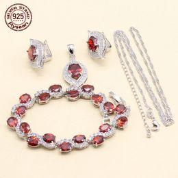 $enCountryForm.capitalKeyWord NZ - 925 Silver Bracelet Chain Pendant Hoop Earrings Women Jewelry Set Christmas Gift Oval Red White Cubic Zirconia