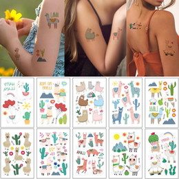 tattoo designs for ankle Australia - Cartoon Alpaca Tattoo Sticker Small Cute Animal Sheep Cactus Design for Kids Temporary Waterproof Tattoo Water Transfer Body Tattoo Neck Arm